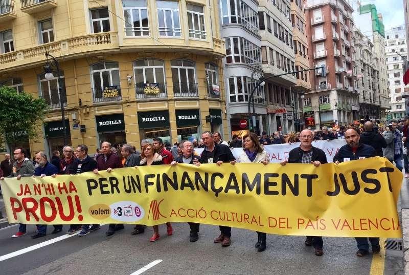 Un moment de la manifestació. FOTO ACPV