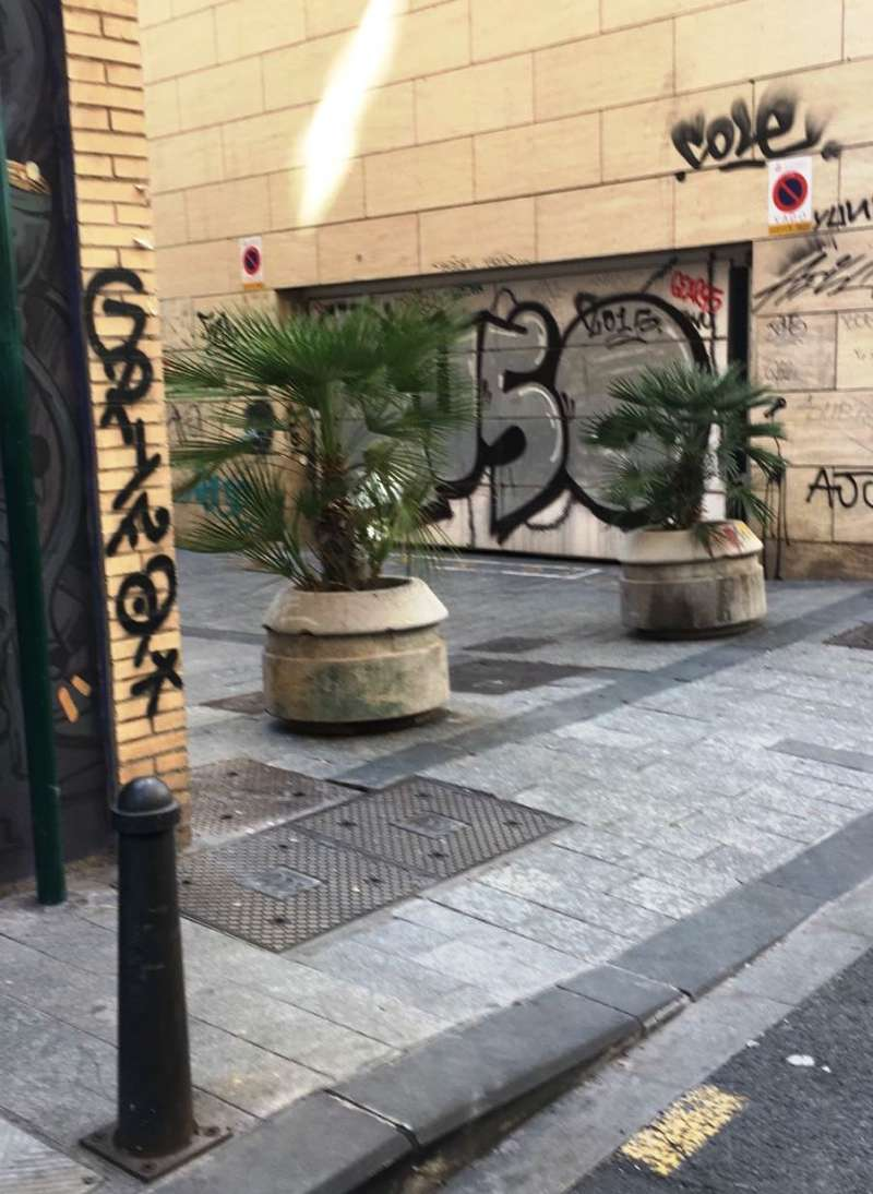 Maceteros en la calle Villena.