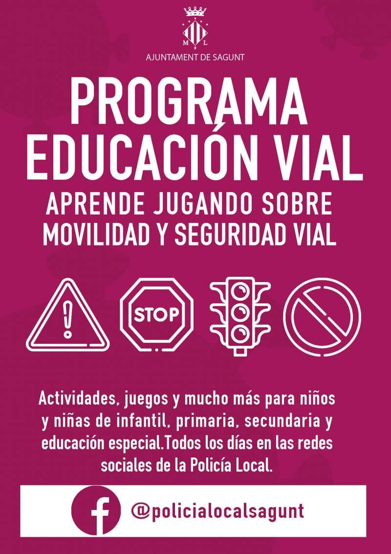 Cartel del programa de educación vial.