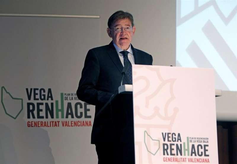 El president de la Genralitat, Ximo Puig, durante su intervención en la presentación del plan de regeneración de la Vega Baja,