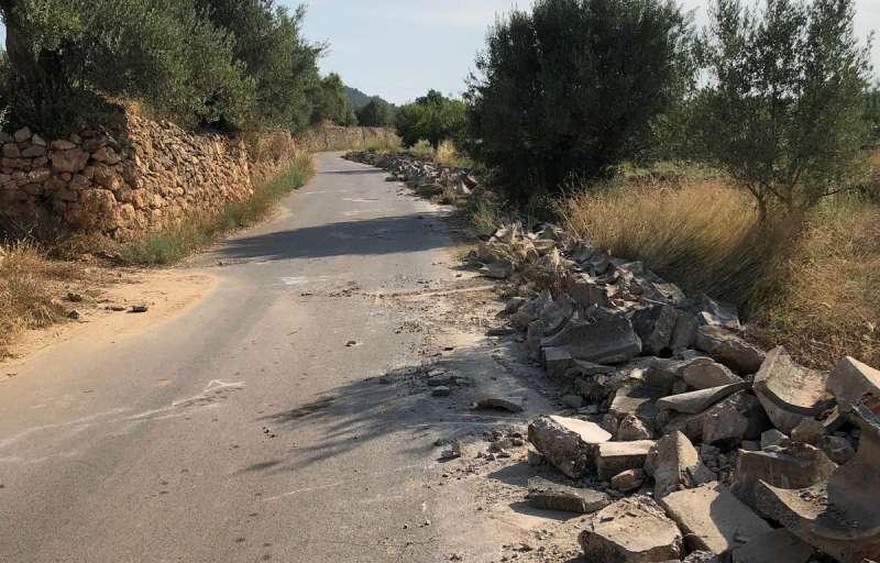 El camino de la Huerta en obras