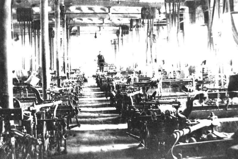 Imagen de los telares de la fábrica de Geldo