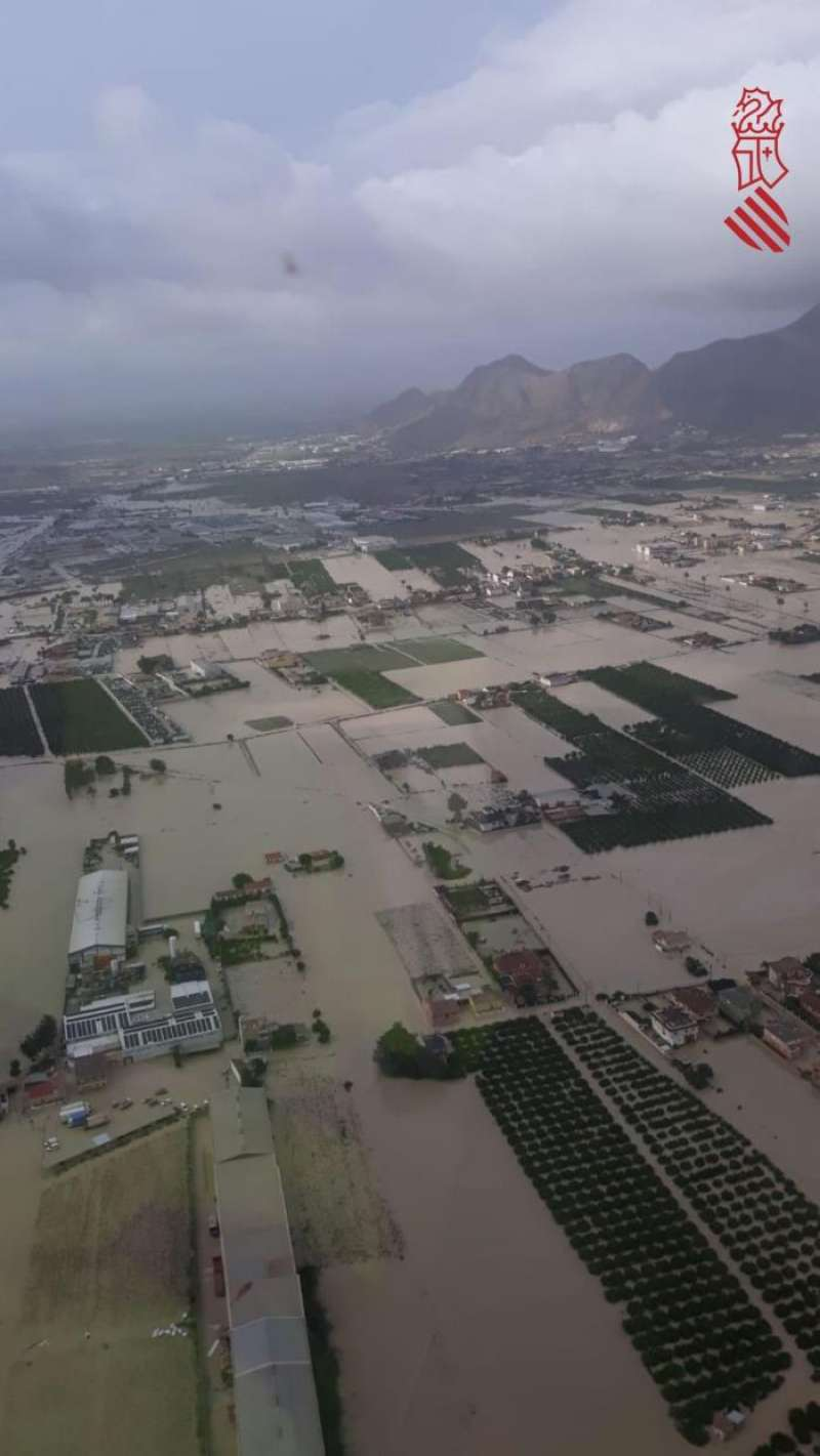 Imagen aérea de Orihuela facilitada por el 112. EFE