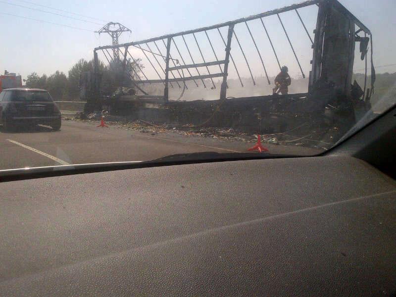 El camión tras arder completamente en la A7. FOTO EPDA