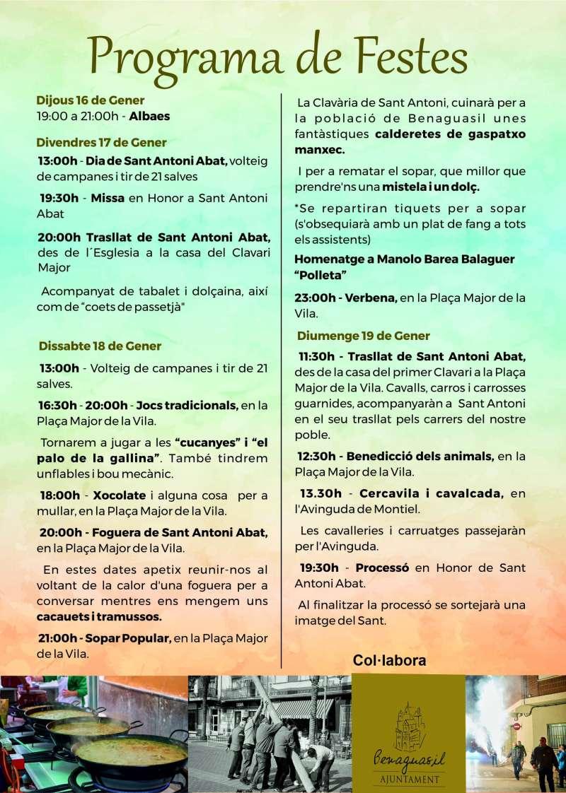 Programa de fiestas de San Antonio Abad de Benaguasil. / EPDA