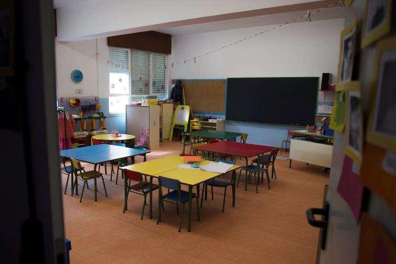 Un aula vacía en un día de huelga en la Educación. EFE/Archivo