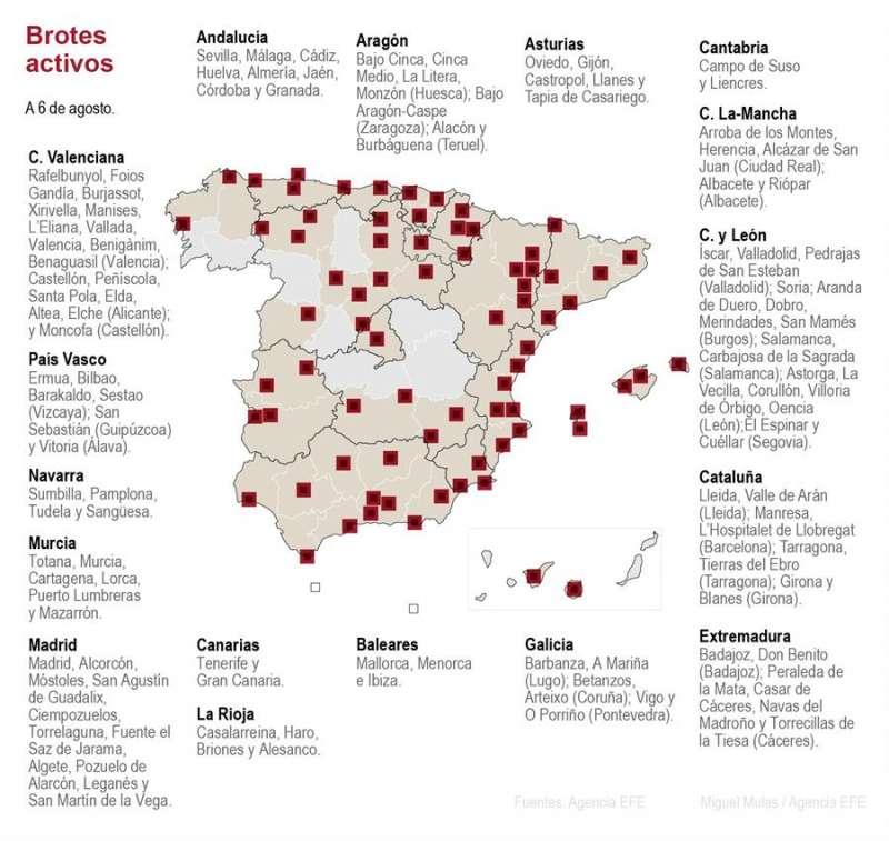 Imagen de los rebrotes en España. EFE