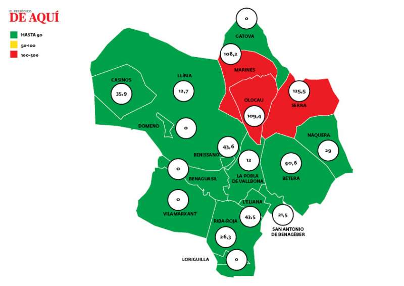 Mapa de incidencia con los últimos datos, publicados el 14 de mayo. EPDA.