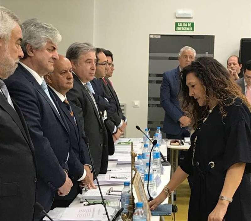 Amparo Mañez en el momento de jurar su cargo