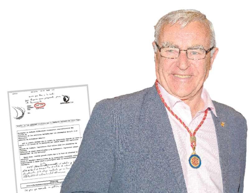 Joan Ribó y un fax con una de las múltiples peticiones para que pusiera orden en Canet. EPDA
