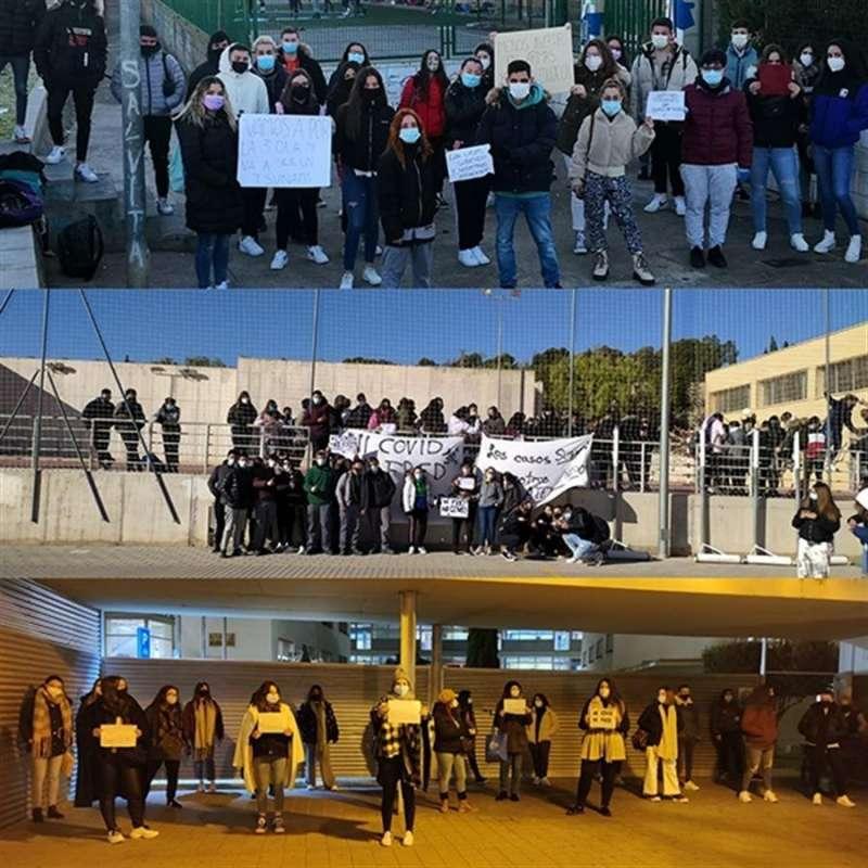 Estudiantes reclamando una educación