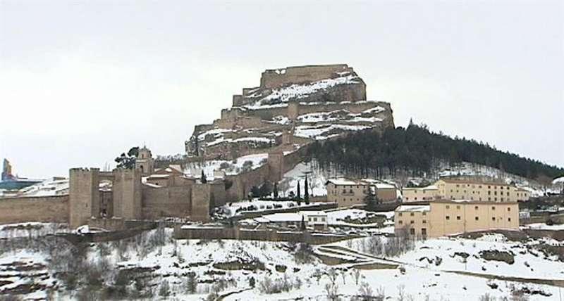 Imagen de una preciosa Morella nevada. EPDA