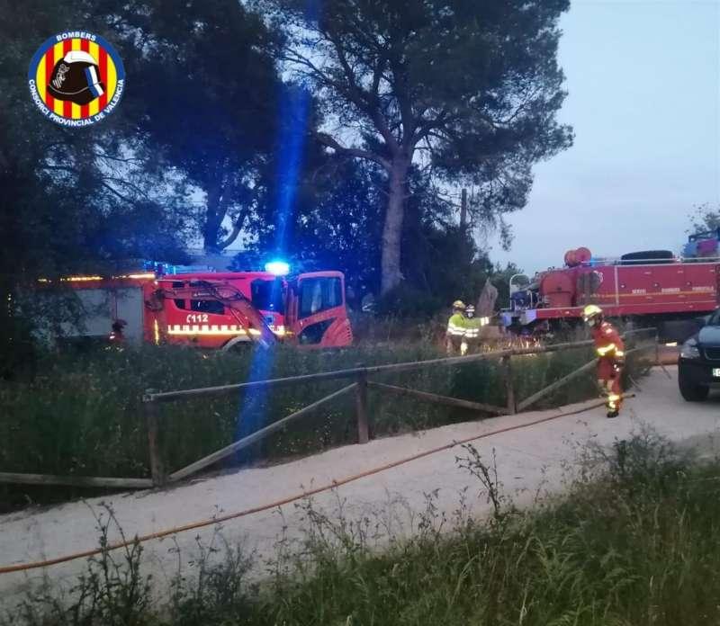 Incendio declarado en el parque natural del Túria. EFE