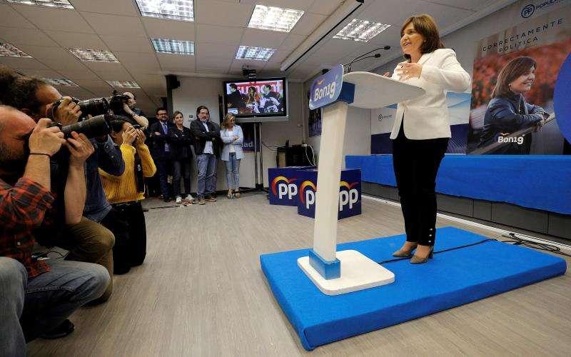 La presidenta del PPCV y candidata a la presidencia de la Generalitat, Isabel Bonig, comparece la noche electoral. EFE