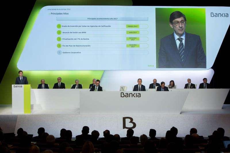 El presidente de Bankia, José Ignacio Goirigolzarri, durante su intervención en una junta general de accionistas. EFE/Archivo