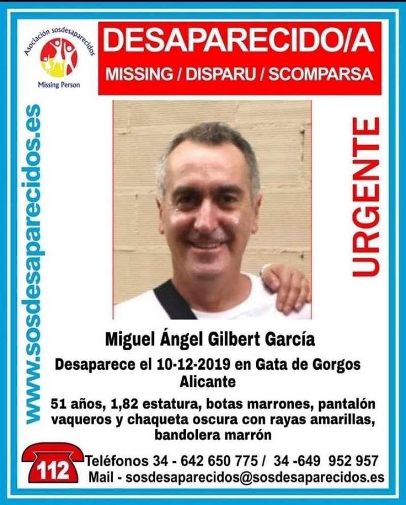 Imagen del cartel publicado por la desaparición de Miguel Ángel Gilaber. EFE