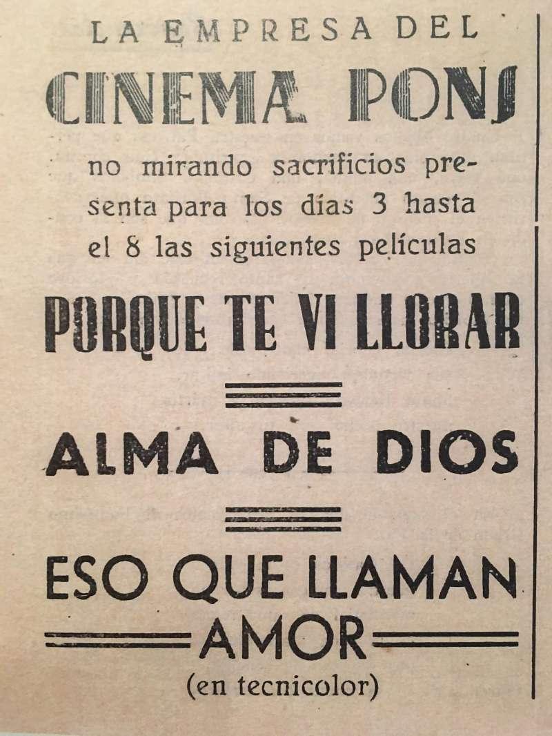 Anuncio del Cine de Pons. Fiestas 1943. (Archivo JSMS)