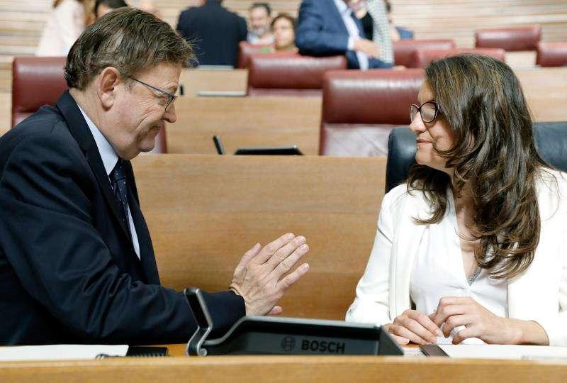 El president y la vicepresidenta del Gobierno valenciano, Ximo Puig y Mónica Oltra. EFE/Archivo