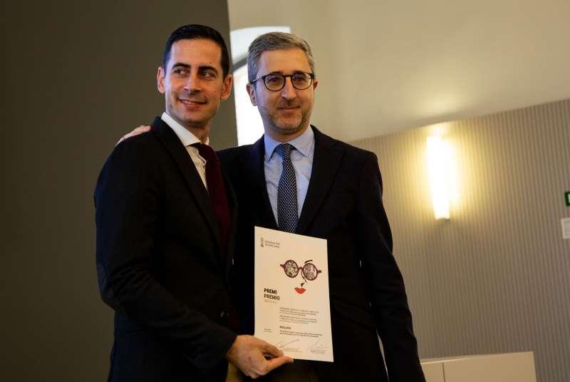 El alcalde Bielsa con el conseller, Arcadi España. EPDA