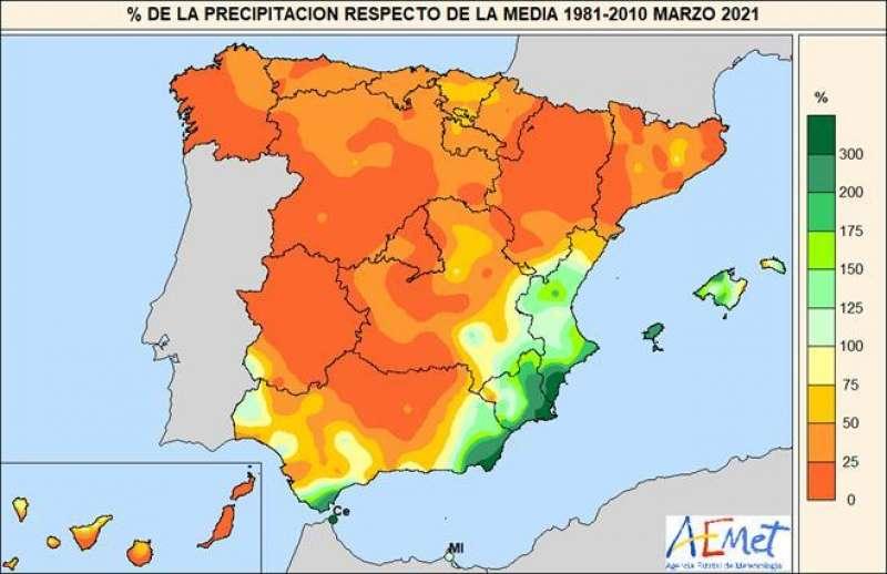 Porcentaje de la precipitación acumulada respecto al valor normal en marzo de 2021. Fuente: Ministerio para la Transición Ecológica y Reto Demográfico. EPDA