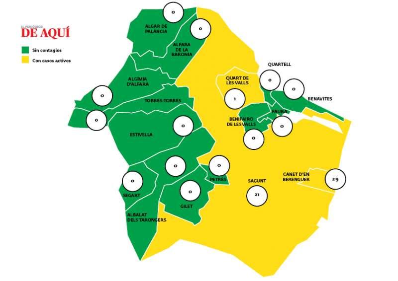 Mapa de indicencia en el Camp de Morvedre / EPDA