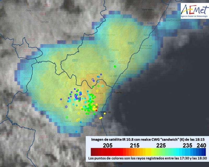 Imagen de la actividad tormentosa facilitada por Aemet. EFE/Aemet