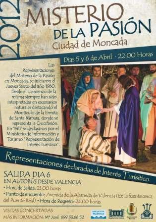 Cartel de la celebración del Misterio de la Pasión en Moncada. Foto EPDA