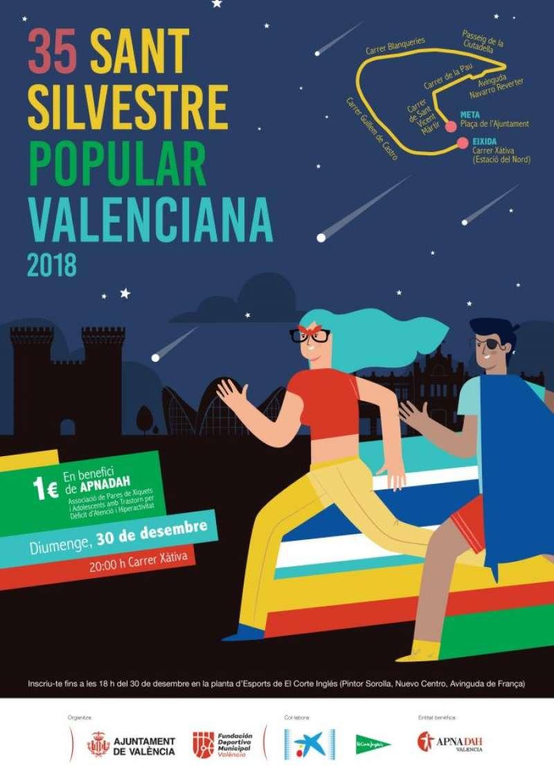 Cartel anunciador de la 35 edición de la San Silvestre valenciana. EFE