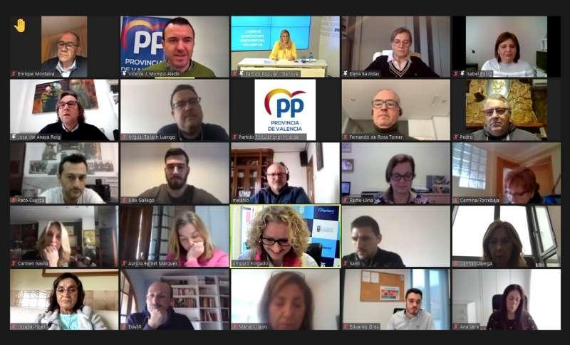 foto del comité ejecutivo provincial de Valencia que se ha celebrado hoy de forma telemática