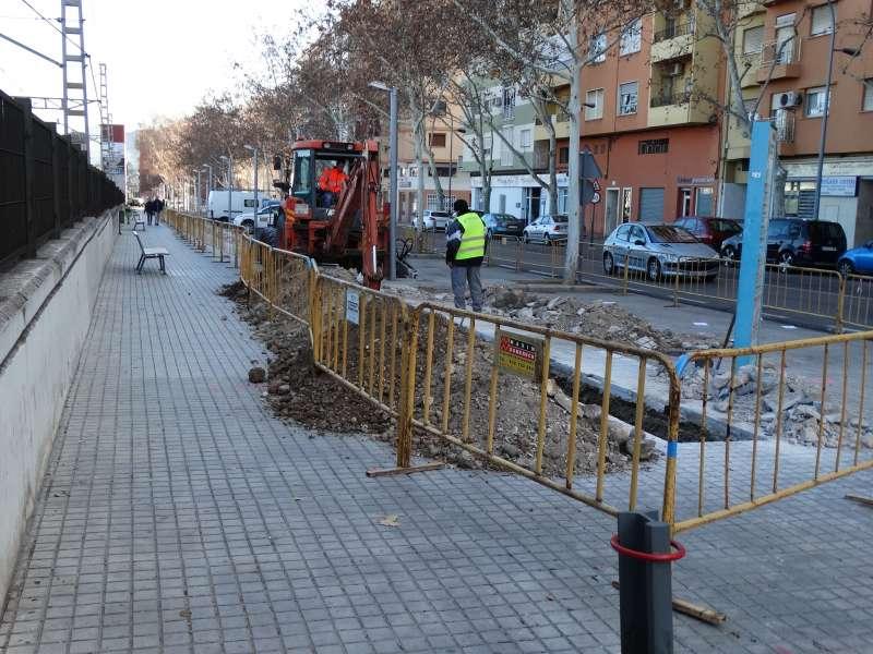 Una de les obres a Xàtiva.