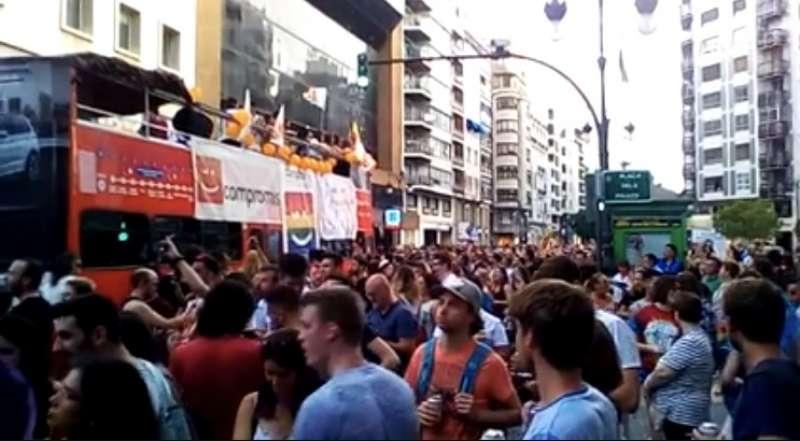 Una de las carrozas que han participado en la manifestación de Valencia. FOTO EPDA