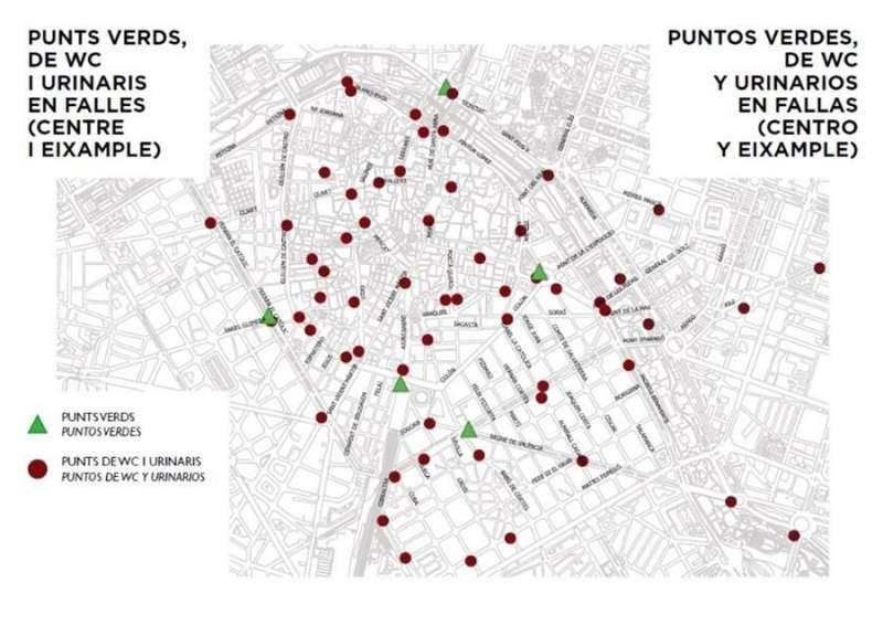 Mapa difundido por el Ayuntamiento de València de la ubicación de urinarios y papeleras en Fallas.