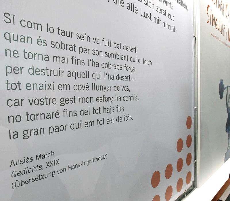 Un poema de Ausiàs March, en la feria del libro de Leipzig, en una imagen de 2007. EFE/Archivo