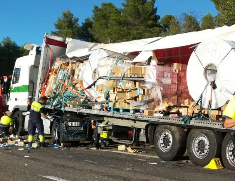 Uno de los camiones accidentados. Foto: MC Calpe