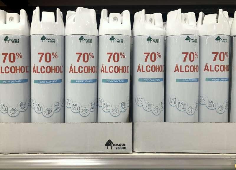 70% Alcohol Perfumado en spray en el lineal de Mercadona. epda