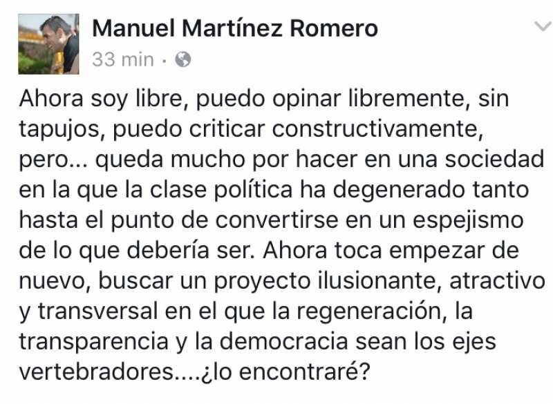 Publicación en el muro de Facebook de Manolo Martínez. FOTO EPDA