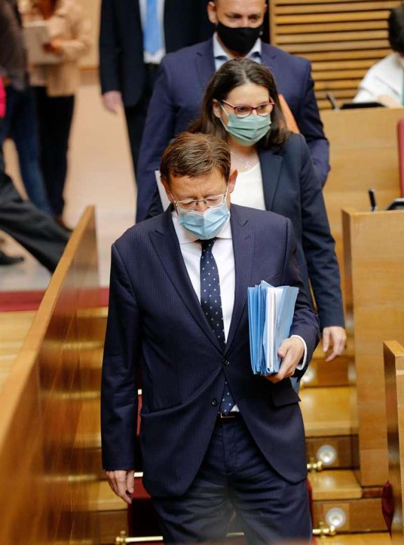 El president de la Generalitat, Ximo Puig, la vicepresidenta, Mónica Oltra, y el vicepresidente segundo, Rubén Martínez Dalmau. EFE