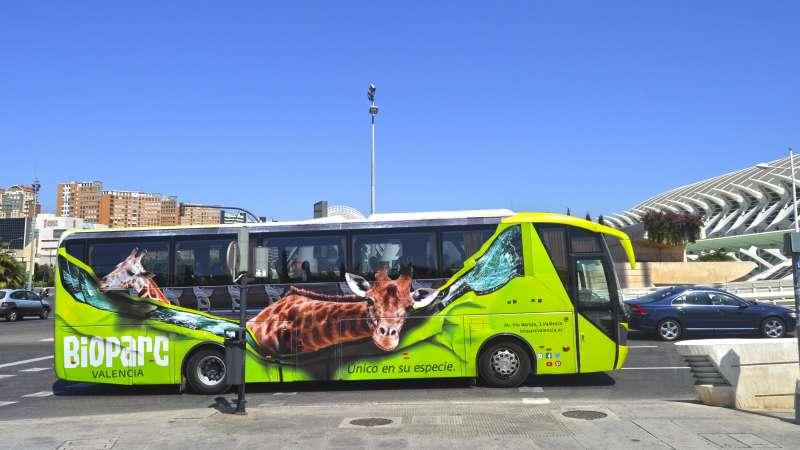 Autobús tematizado de BIOPARC. EPDA