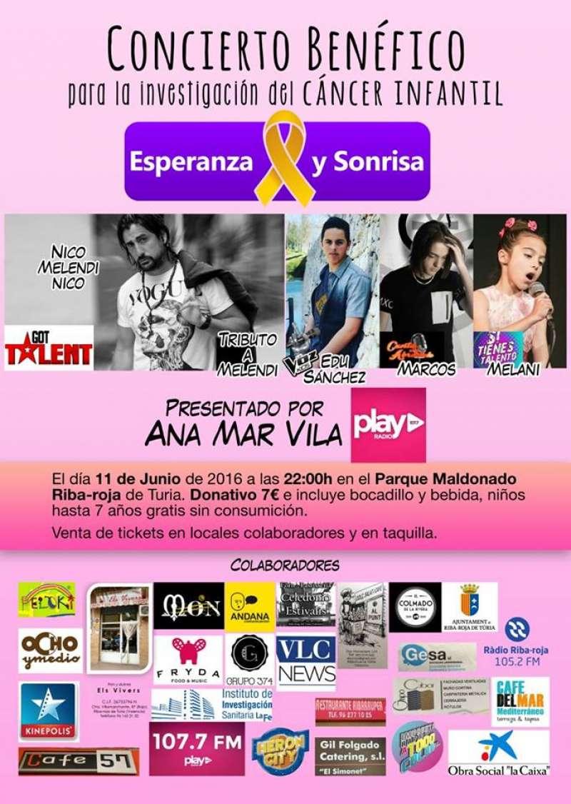Cartel del concierto benéfico para la investigación del cáncer infantil