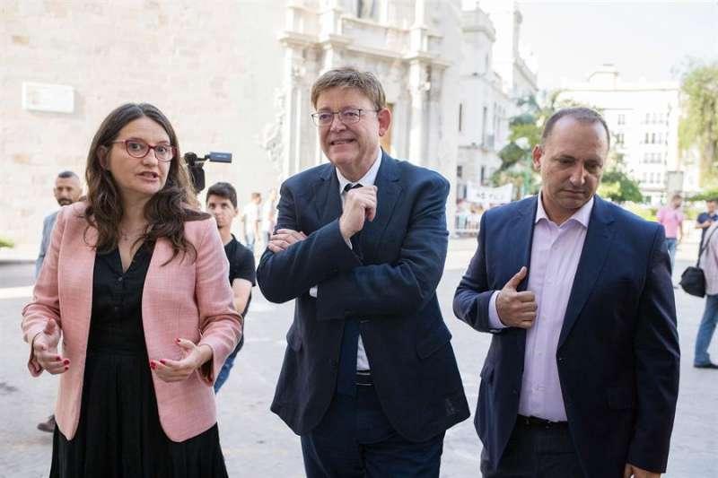 Ximo Puig, Mónica Oltra y Rubén Dalmau (Unides Podem). EFE/Domenech Castelló/Archivo
