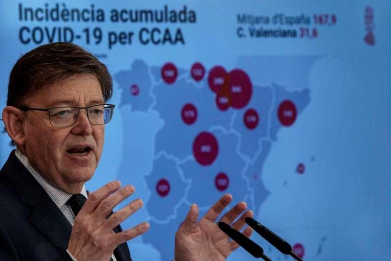El president Ximo Puig durante la rueda de prensa ofrecida tras la reuni�n Interdepartamental de la Generalitat para la Prevenci�n y Actuaci�n. EFE / EPDA
