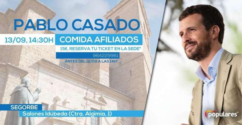 Será la primera visita de Pablo Casado a la ciudad