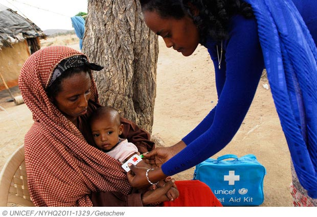 Dos niños reciben ayuda de Unicef. FOTO UNICEF
