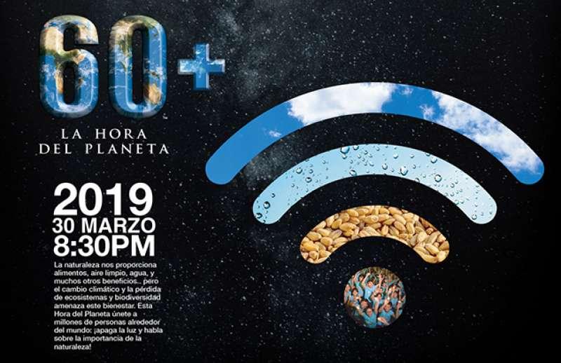Cartel informativo de la Hora del Planeta. EPDA