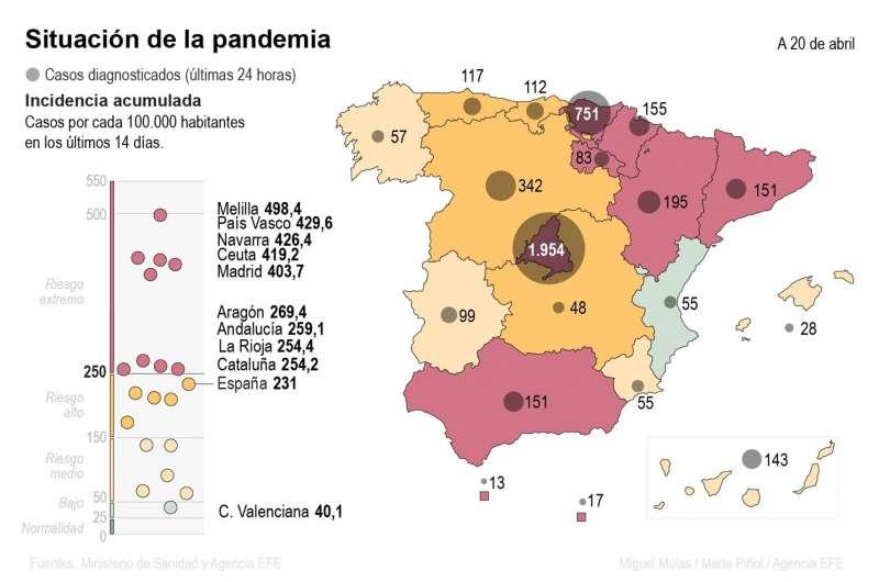 Mapa del coronavirus a 20 de abril. EPDA
