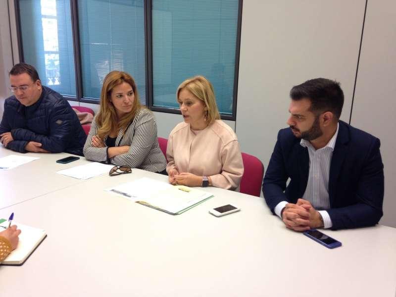 Rueda de prensa de Mari Carmen Contelles y Sonia Casaus junto con diputados provinciales del PP.