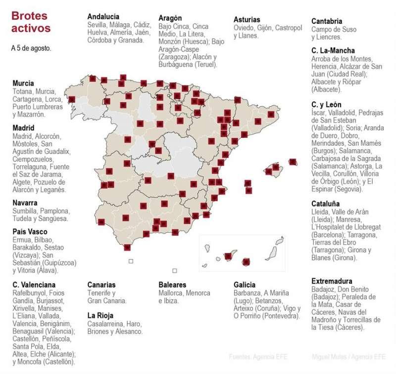 Brotes en España en un mapa actualizado. EFE