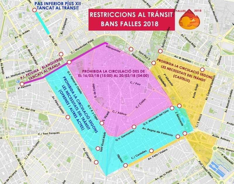 Bando de los cortes de calles para Fallas en València. EPDA