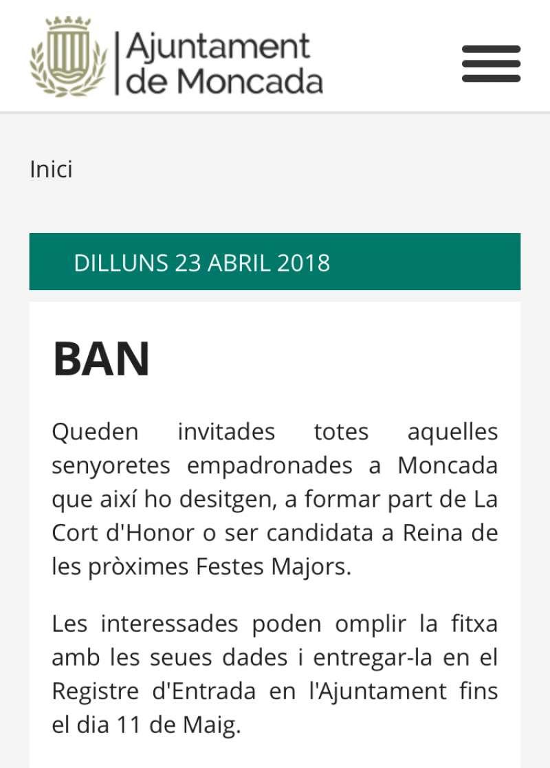 Bando publicado en la web municipal. EPDA