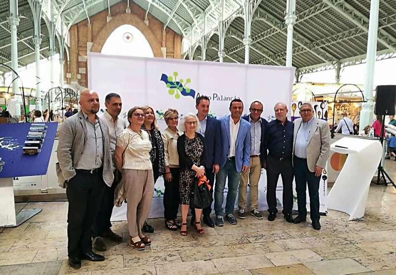 Algunos alcaldes de la comarca en la presentación en Valencia